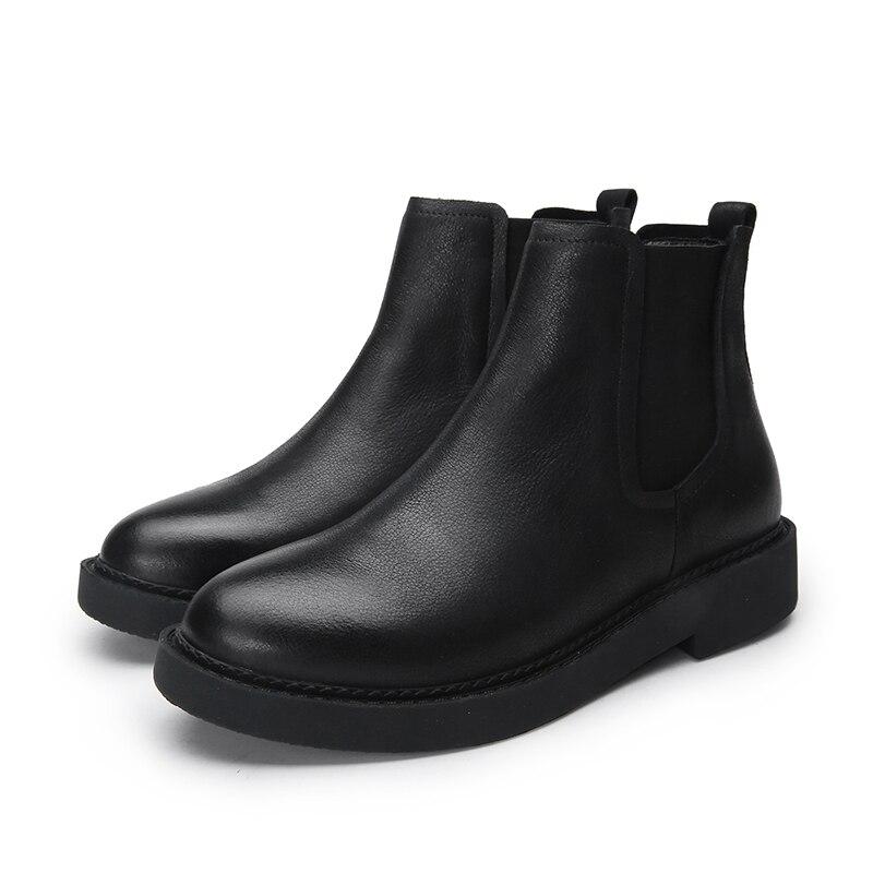 Femmes Bande Chaussures Épais Femme Cheville Main Cuir Chaude Noir La Véritable 41 Plus Bottes Dame 2018 Courtes Taille Vente Élastique Talon gZ4pqp