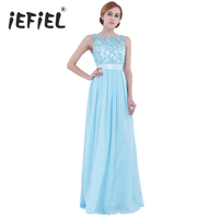 iEFiEL Women Ladies Embroidered Chiffon Dress Long Prom Gown for Weeding Birthday Party Dresses vestidos de Lace Dress