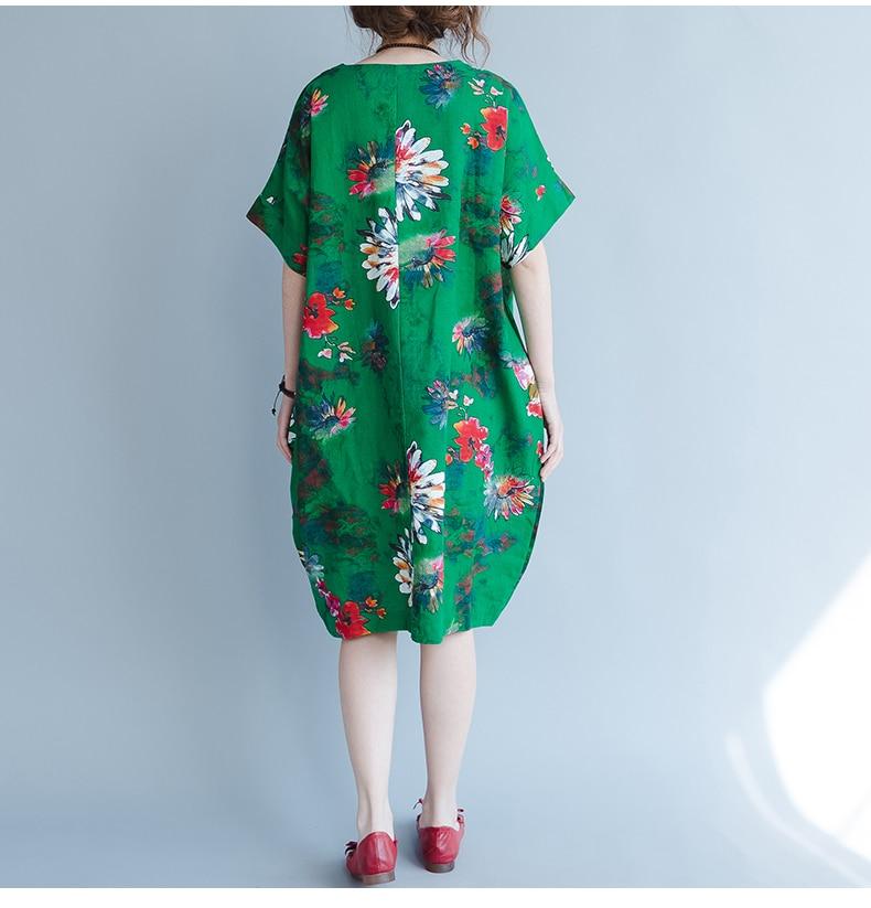 BelineRosa 2017 Big Sizes Women Clothing Bohemian Style Chinese Style Floral Printing Cotton Linen Dress 4XL 5XL HS000264 21