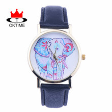 DHL free 100pcs/lot,Women'S Crayon Drawing Elephant Charms Style lady Casual watch gifts waterproof