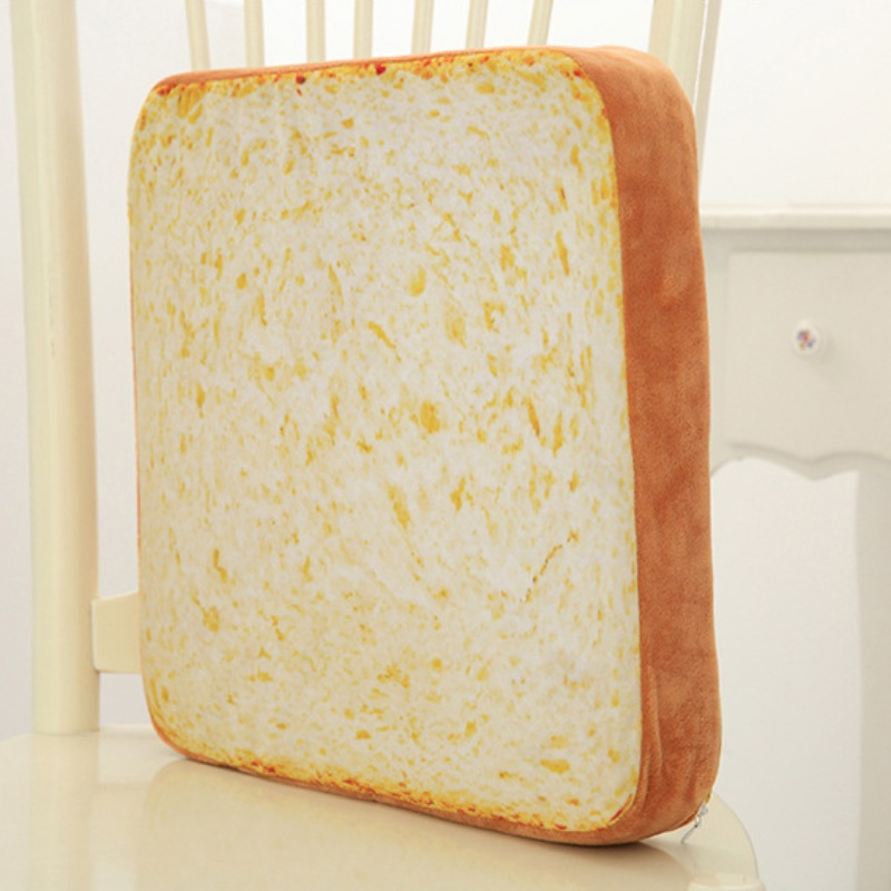Funny Toast Bread Print Cushion Cover Soft Warm Plush Toast Bread Slice Pet Mattress Bed Cushion Decorative Throw Pillow