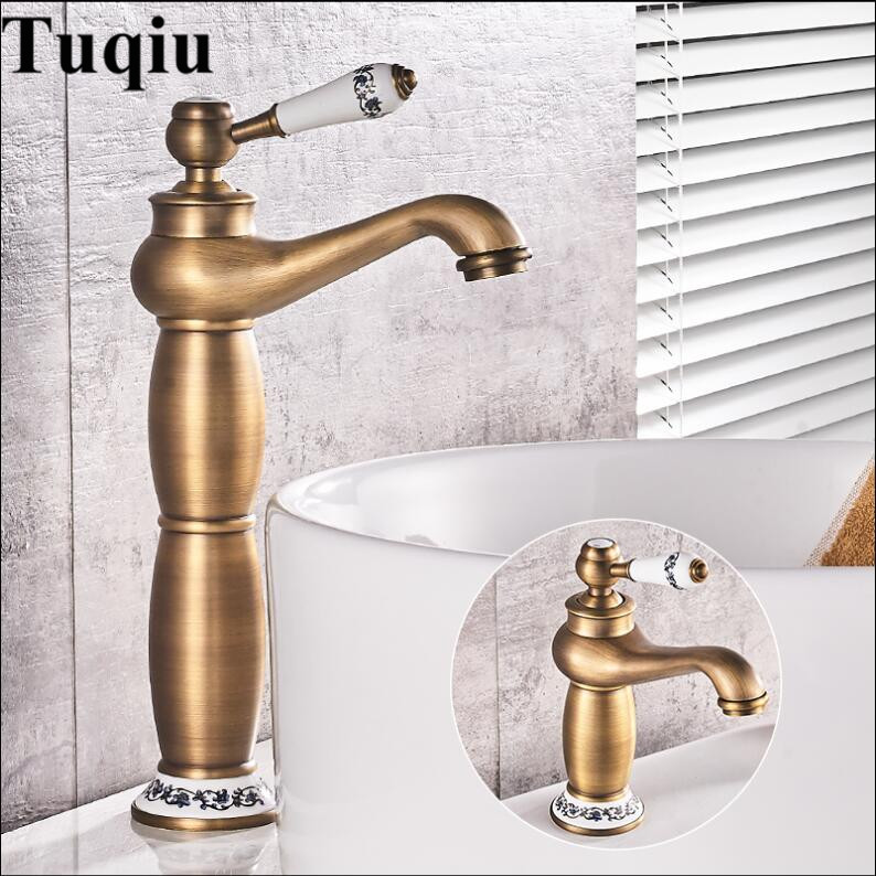 Basin Faucet Antique Brass Lamp Shape Bathroom Sink Faucet Single Handle Hole Deck Vintage Wash Faucet