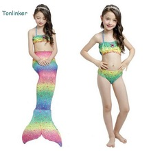 tonlinker Princess Mermaid tails summer swimsuit costume girls two piece Beach bikini kids beath suits Swimwear
