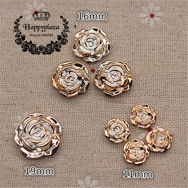 10Pcs Round Rhinestone Edge Rose Flower Shank Buttons Fit Sewing Caft 16mm