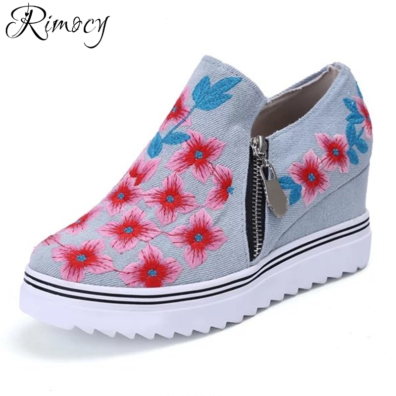 Rimocy womens 2018 spring embroidery floral heel increased canvas shoes woman high platform wedges blue denim casual shoes flats 2017 spring new women sweet floral embroidery pastoralism denim jeans pockets ankle length pants ladies casual trouse top118