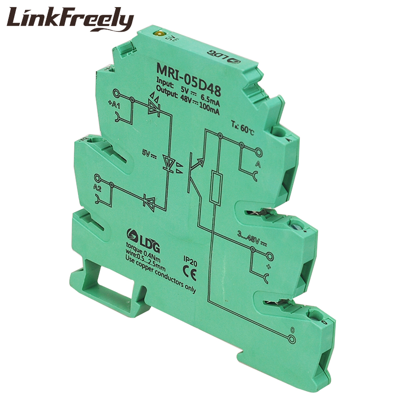 MRI 05D48 Input 5V DC Photoelectrical Coupler Interface Relay Module Optocoupler Isolating PLC DIN Rail Relay 3 3V 12V 10pcs in Relays from Home Improvement