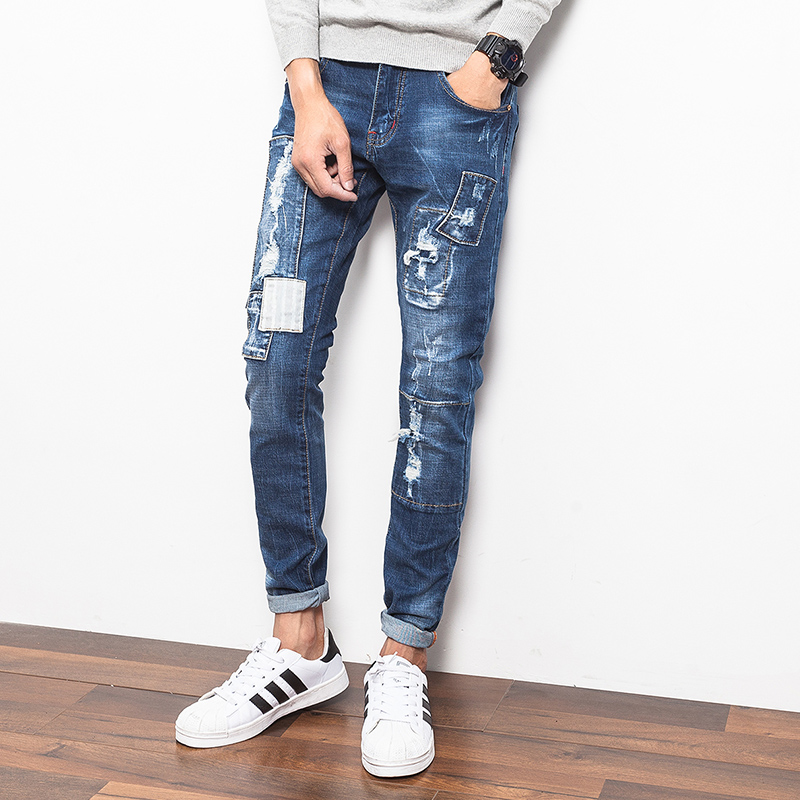 New Designs Men Ripped Ripped Jeans Pant Korean Style Slim Fit Fit Denim Pants 2016 Fashion