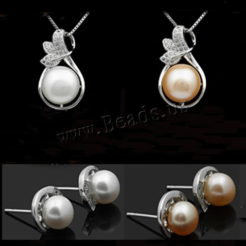 100% Natural Cultured Freshwater Pearl Charm Fine Jewelry Set Necklace Earrings Fashion Accessaries 2 Colors Gift Box Wholesale
