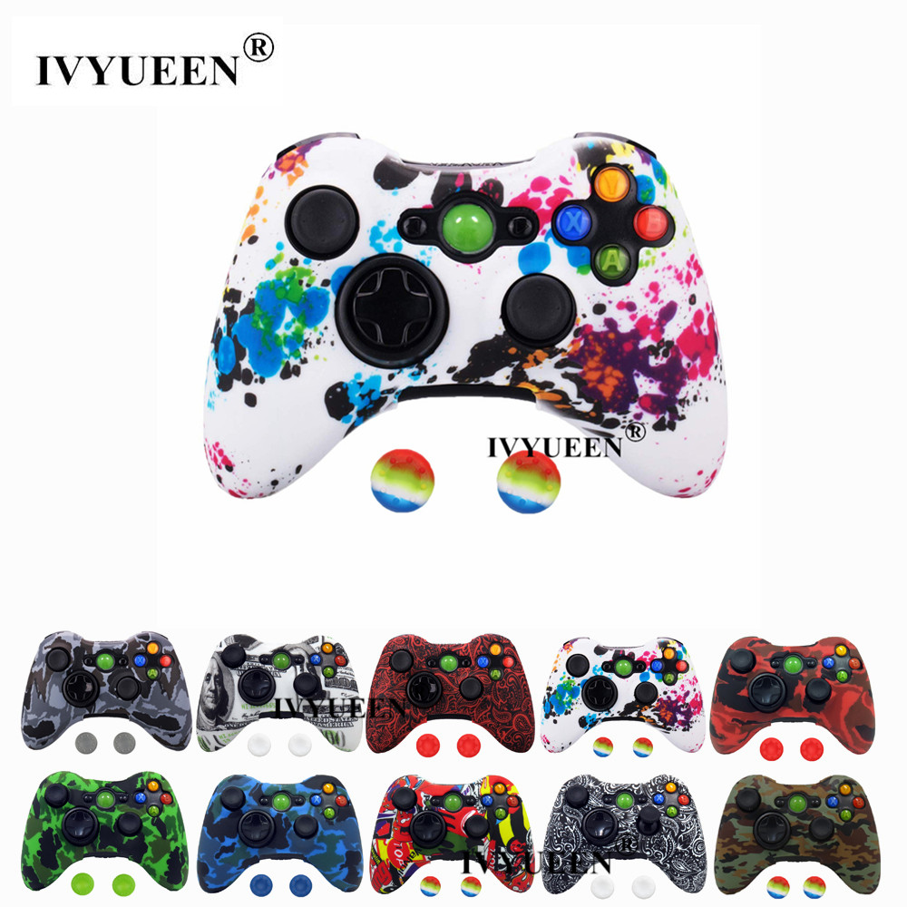 IVYUEEN Camo Silicone Skin Cover For Microsoft Xbox 360 Wired / Wireless Console Grip Case Protector Cover Game Accessories