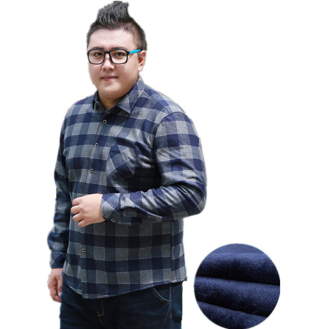076f151db814f Winter Cotton Flannel Large Size 7xl 8xl Plus Fleece Thick Warm Plaid Shirt  Big Men Long