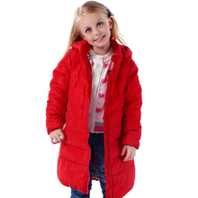 Высокое качество НОВОГО 2016 Модные Девушки Зимнее Пальто девочки пуховик средней длины средних и больших пуховик дети Outerwears