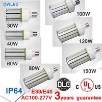 UL DLC Listed E26/E39 LED Light Design Corn Bulb 30w 40w 60w 80w 100w 120w 150w Outdoor High Luminous Output 120lm/Watt