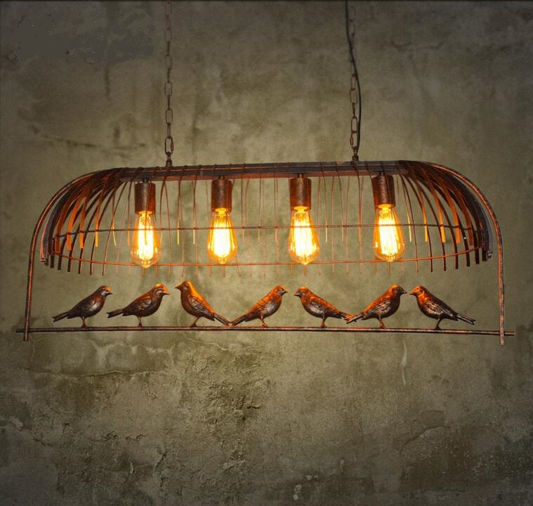 Retro industry personality retro bird pendant lights Cafe Bar Iron restaurant one industrial wind decorative pendant lamp GY188 loft style iron pendant lamp creative industry restaurant bar cafe personality studio gear 2 head pendant lights