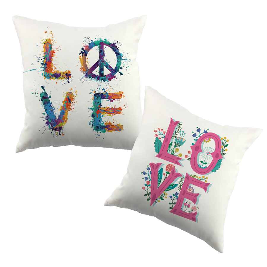 Love And Peace Label Pattern Printed Cushion Cover
