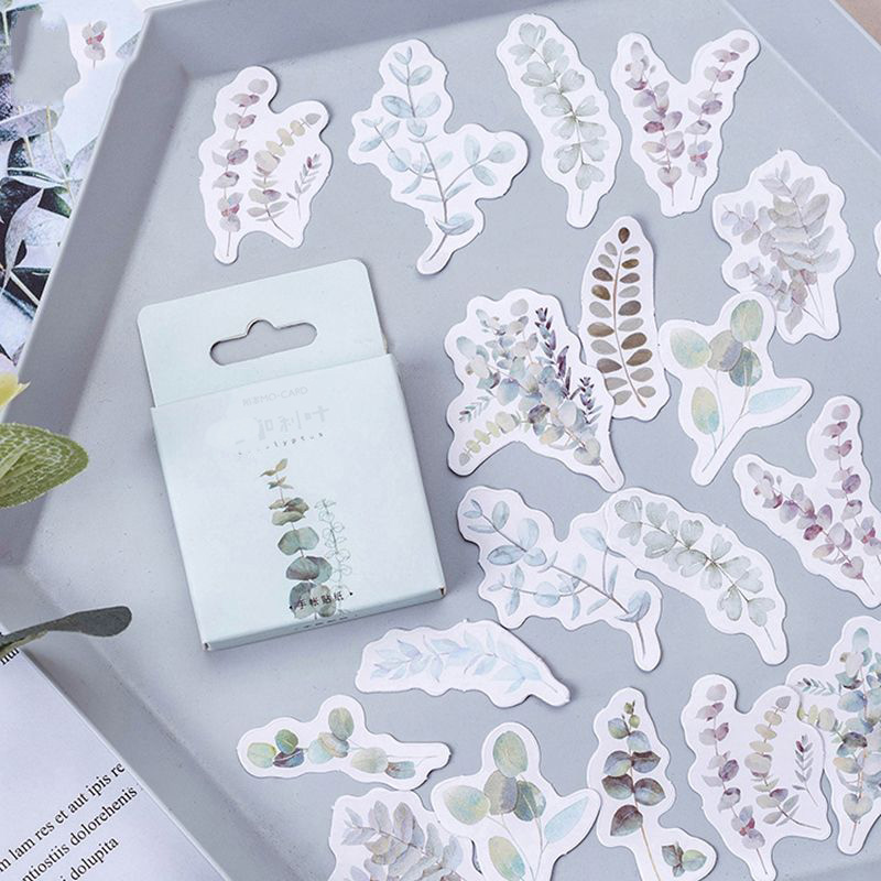 45Pcs/Lot Eucalyptus Plants Leaves Decor Mini Paper Sticker DIY Album Diary Scrapbooking Label Sticker Decoration Students Gifts