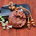 2016 Fashion llaveros Wooden Dragon Carved KeyChain Chinese lucky animal car Pendant Charming Keychain