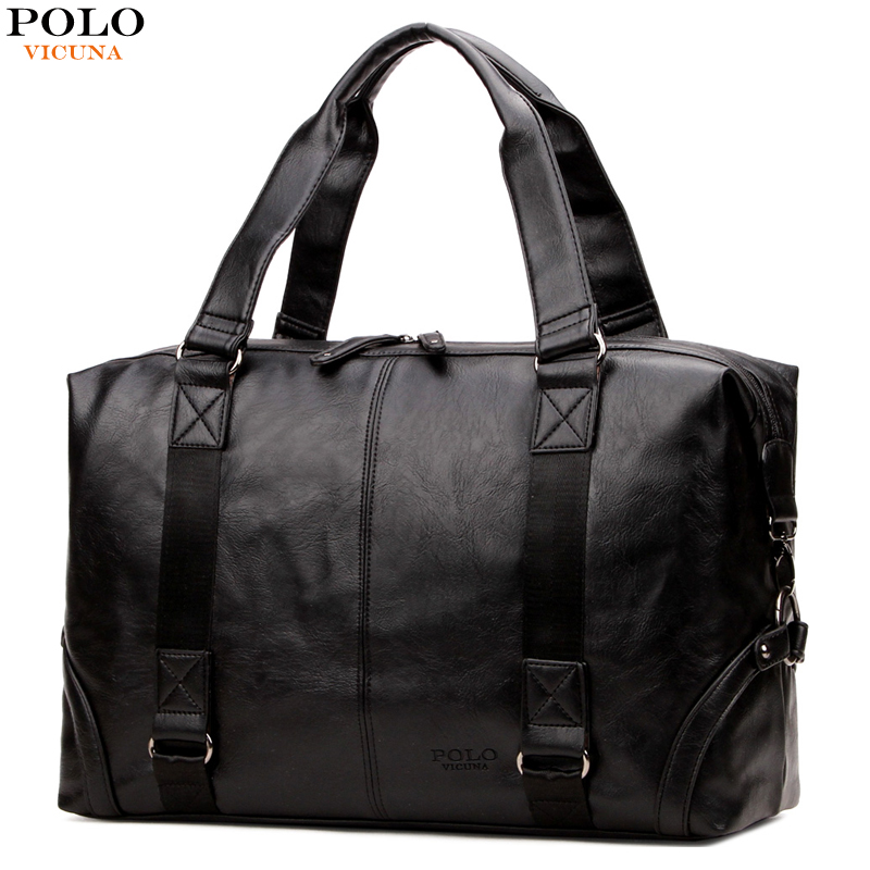 все цены на VICUNA POLO Large Capacity Men Travel Bags Casual High Quality Leather Men Luggage Bag Multifunction Solid Men Travel Handbags онлайн