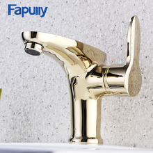 Fapully Luxury Gold Bathroom Faucets Single Handle Vanity Sink Mixer Water Tap Modern Golden Basin Faucet 581-11G