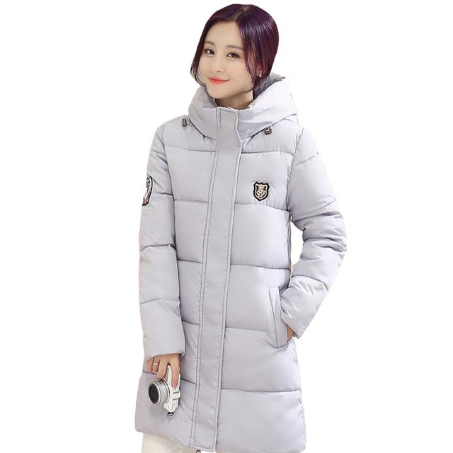 2016 de Invierno Nueva Versión Coreana De Algodón Larga Sección De de gran Tamaño de Las Mujeres Slim Down Chaqueta Acolchada Gruesa Capa Femenina C37