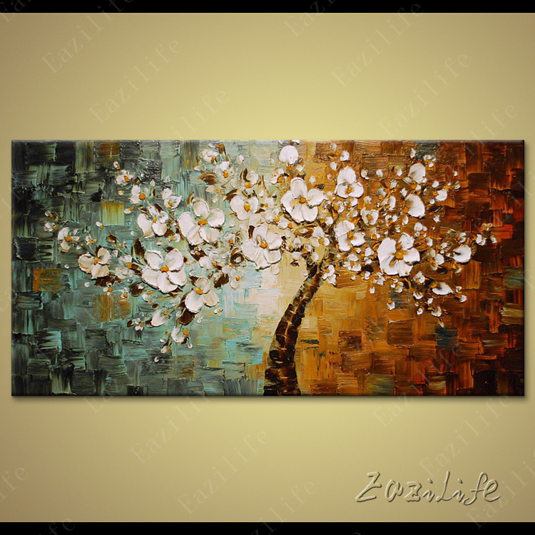 Flower Hand Painted palette font b knife b font 3D texture flower Hand Painted Canvas Oil