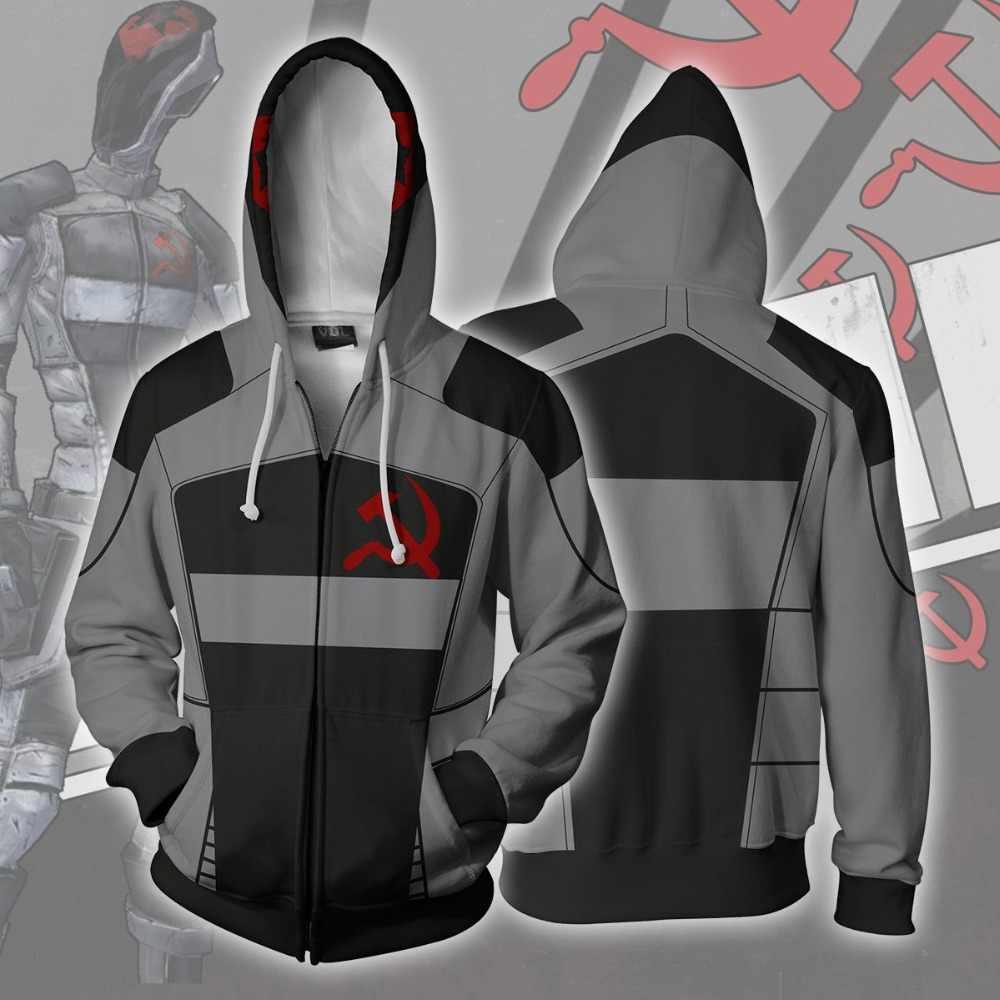 Borderland 2 assassin Zer0 костюм толстовки куртки Косплей 3D печати на молнии с капюшоном хип
