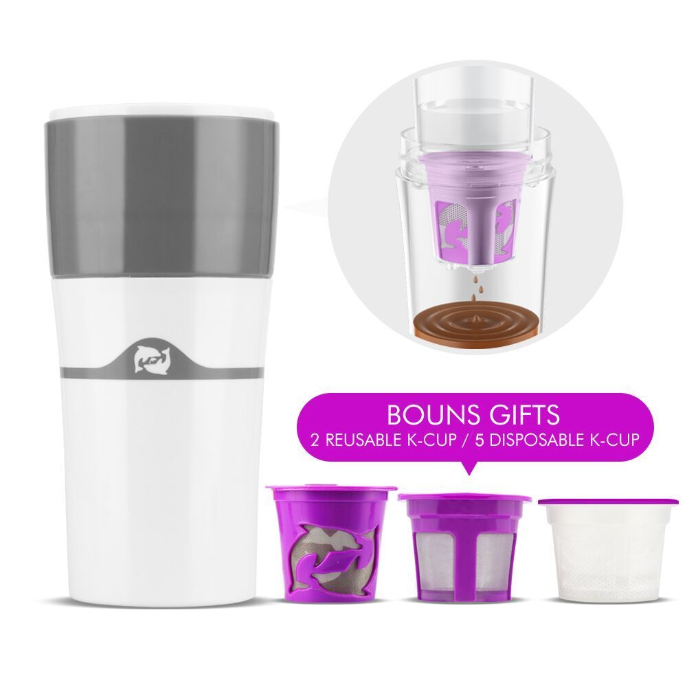 All In One Drip K-Cup Coffee Travel Mug BPA Free Portable Pour-over Compatible With ALL Keurig Coffee Maker For Camping Hiking cup