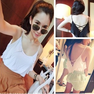 Vivi fashion normic all-match beautiful strap racerback sleeve ruffle spaghetti strap small vest