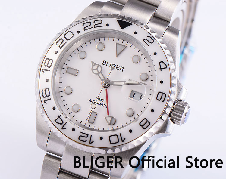 Fashion Sapphire Crystal BLIGER 43MM White Dial Ceramic Rotating Bezel GMT Function Luminous Automatic Movement Men's Watch