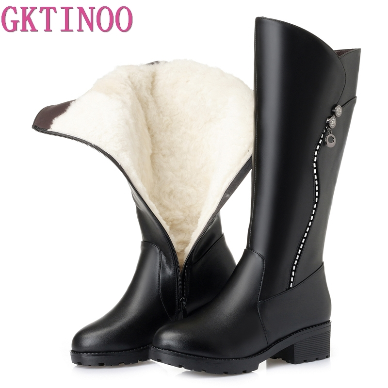 GKTINOO High Quality Knee High Boots Women Genuine Leather Winter Boots Comfortable Warm Wool Women s