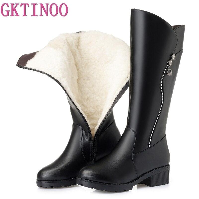 GKTINOO/высокое качество, сапоги до колена, женские зимние сапоги из натуральной кожи, удобные теплые шерстяные женские высокие сапоги