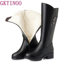GKTINOO High Quality Knee High Boots Women Genuine Leather Winter Boots Comfortable Warm Wool Women's Long Boots Shoes genuine leather women winter boots brand women winter shoes natural wool warmful plush high quality knee high boots xammep