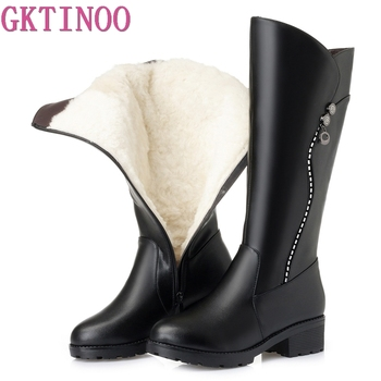 karinluna 2018 plus size 33 45 genuine cow leather boots women shoes square high heels best quality knee high boots shoes woman GKTINOO High Quality Knee High Boots Women Genuine Leather Winter Boots Comfortable Warm Wool Women's Long Boots Shoes
