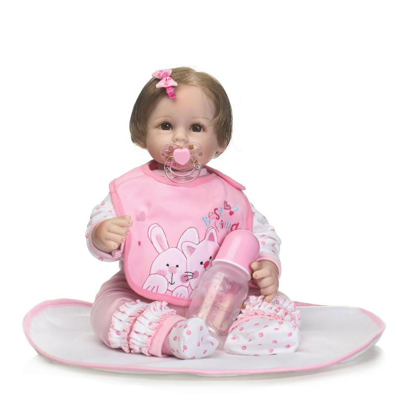 New Arrival 50cm Big Eyes Baby Girl Doll 22 Smiling Bebe Reborn Girl Doll Dressed Pink Clothes Doll Girls Toy Christmas Gifts new arrival 55cm blue eyes pink clothes lifelike baby soft girl doll with free plush toy as kids xmas gifts birthday doll toys