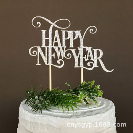 Creative Christmas Cake Flag Happy New Year Cake Topper For Xmas New Year