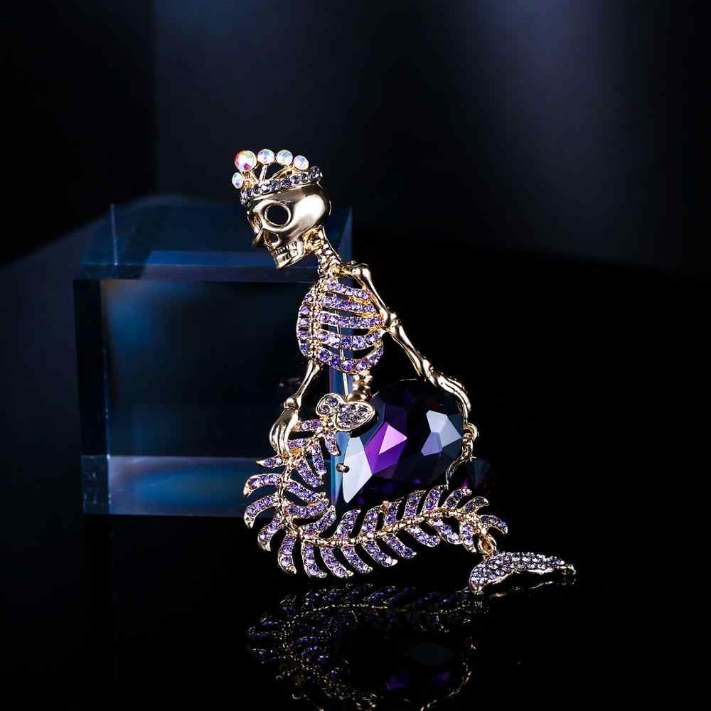 Tuliper Crown Mermaid Skull Skeleton Brooch Pin Austrian Crystal Rhinestone Brooch For Women Party Jewelry Halloween Gift