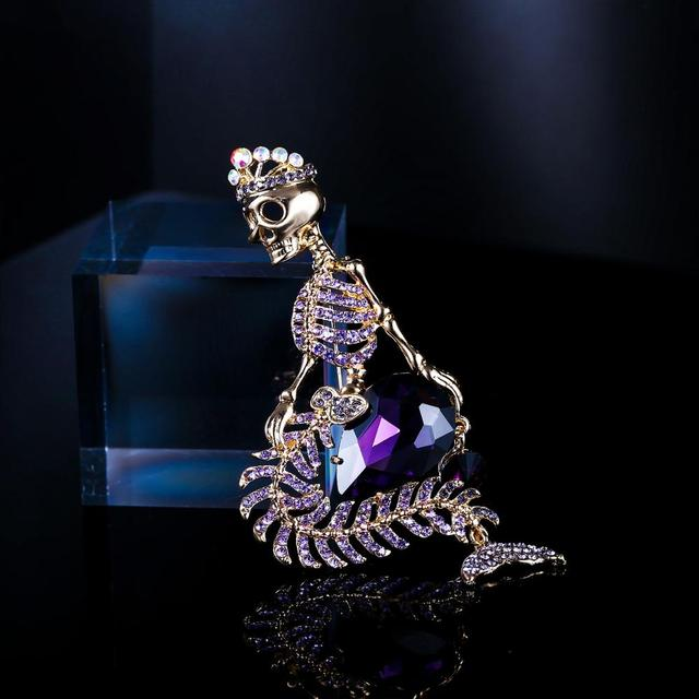 Tuliper Halloween Skull Brooches For Women брошь Broche Femme Mermaid Pin Crown Skeleton Crystal Party Unisex Gold Party Jewelry
