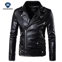 Winter Moto Vintage Men S Black Motorcycle Leather Jacket Casual Slim PU Leather Coat Male Faux