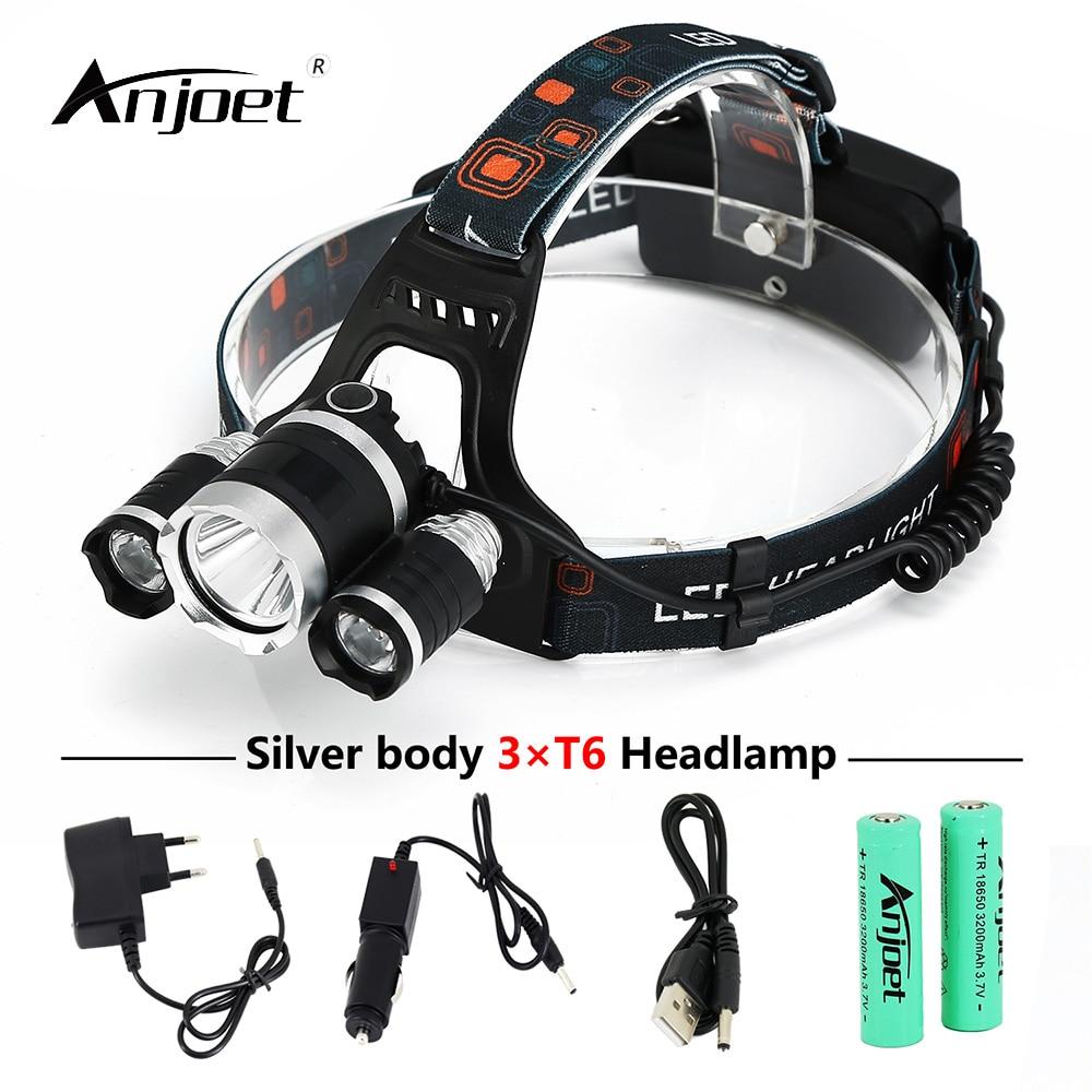 ANJOET Silver body 3*T6 bicycle Headlamp 30W <font><b>10000</b></font> Lumen Headlight Torch XML-T6 fishing LED Head <font><b>Lights</b></font> 18650 Battery+Charger