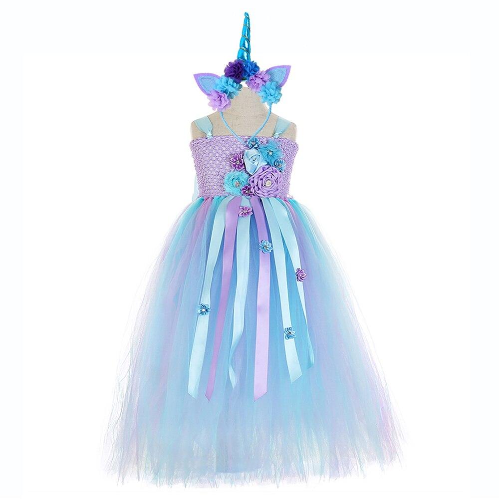 Elegant Purple Top Blue Mesh Tulle Tutu Dress Princess Kids Unicorn Lol for Girl Ankle Length Flower Girls Dresses Age 13