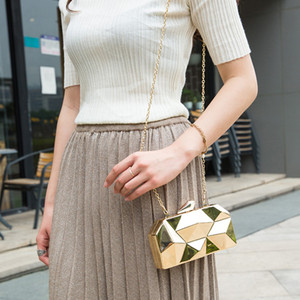 Image 5 - MAGICYZ Gold Acrylic Box Geometry Clutch Evening Bag Elegent Chain Women Handbag For Party Shoulder Bag For Wedding/Dating/Party