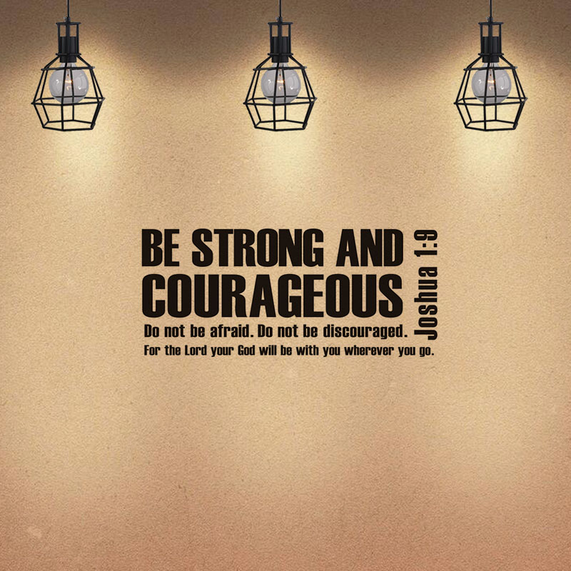 Be Strong And Courageous Joshua 1:9 Wall Sticker Bible Verse Scripture Vinyl Removable Wallpaper For Living Room Home Decoration image