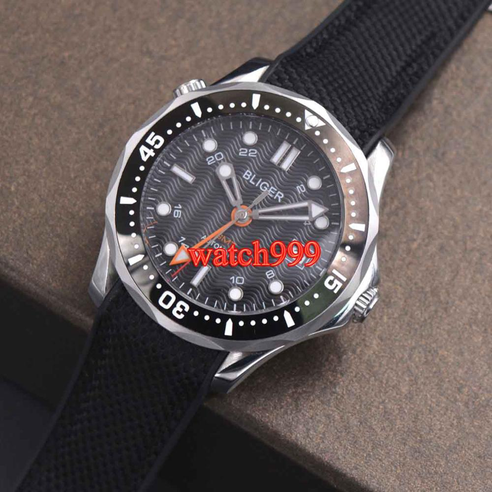 41mm BLIGER black dial solid 316L stainless steel ceramic bezel sapphire glass date mechanical automatic mens watch