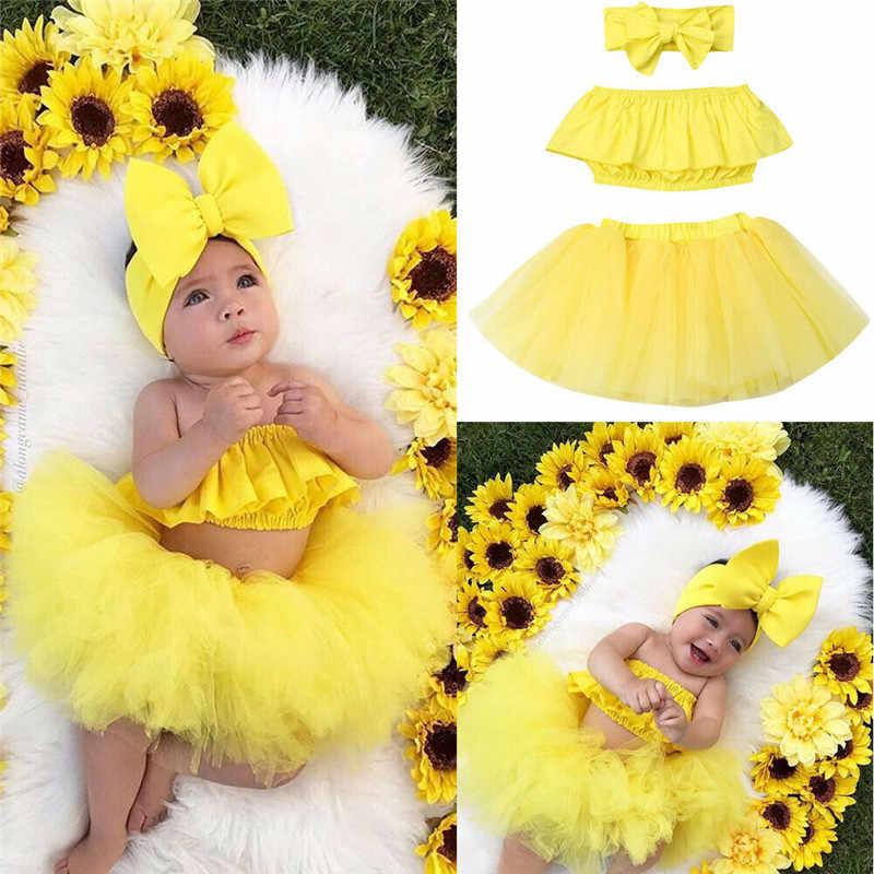 2019 Summer Kids Baby Girl Clothes Sets 3Pcs Cute Ruffle Strapless Crop Tops+Tulle Skirt Ball Gown+Headband Girl Outfits 0-24M