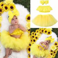 Коллекция 2019 года, летние комплекты одежды для маленьких девочек комплект из 3 предметов, милый Топ без бретелек с оборками + фатиновая юбка ...