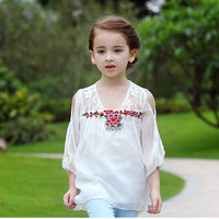 Chinese wind t shirt trendy kids baby clothes 2017 summer embroidered chiffon Princess Long sleeve top for girl toddler shirt