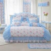Fadfay Домашний текстиль Новый романтический голубой цветочные Постельное белье Обувь для девочек Фея Набор пододеяльников для пуховых одеял