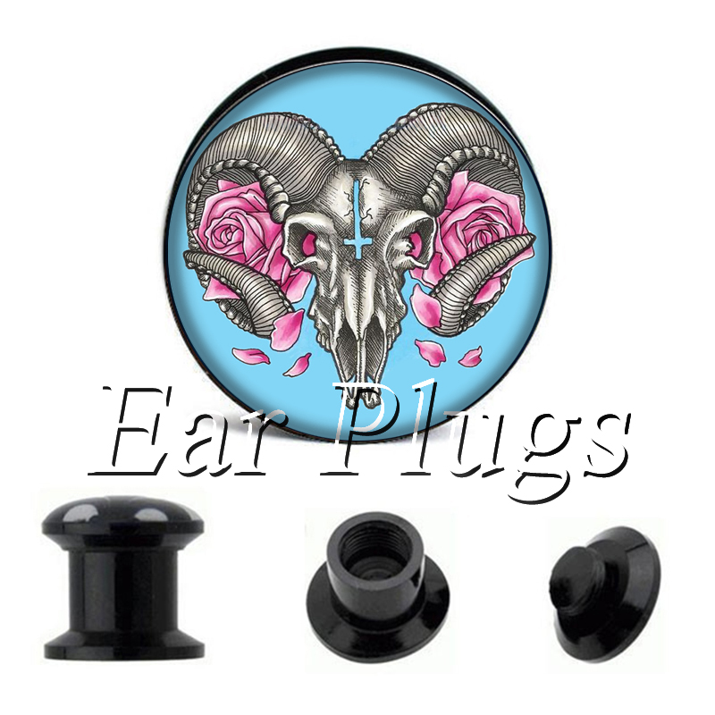 Wholesale Flowers Sheep plug gauges acrylic screw ear plug flesh tunnel piercing body jewelry