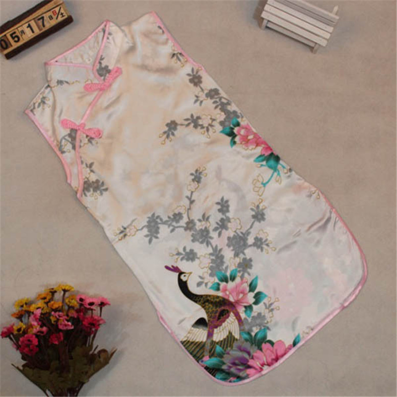 Baby Girls Summer Chinese Style Sleeveless Embroidery Dress&Clothes Cross Collar Party Princess Tang Suit Retro Cheongsam
