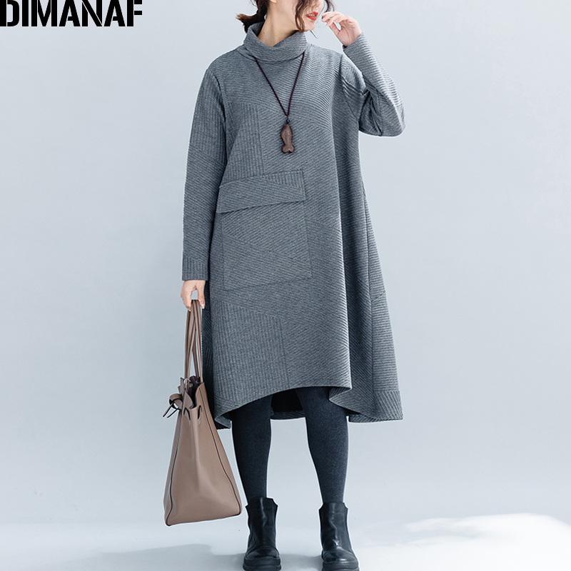 DIMANAF Women Big Sizes Dresses Winter Thick Cotton Female Loose Clothing Casual Lady Vestidos Turtleneck Striped