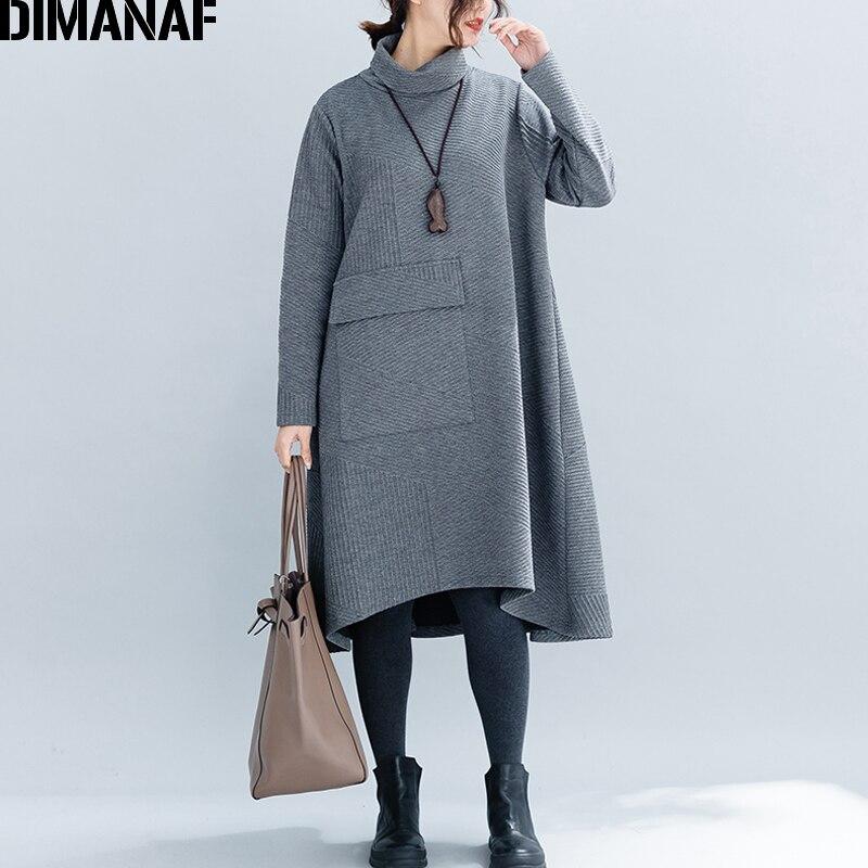 DIMANAF Women Big Sizes Dresses Winter Thick Cotton Female Loose Clothing Casual Lady Vestidos Turtleneck Striped Pockets Dress